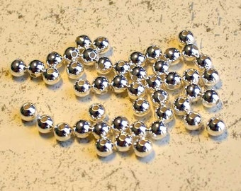 100pcs 3mm Memory Beads Silver Plated Bead End Seamless Round half-drilled