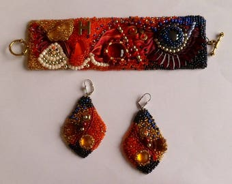 Earrings at Bollywood bracelet and necklace
