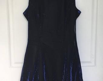 Women's vintage 90's midnight blue shimmer sleeveless prom dress