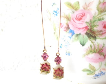 Vintage Limoges Daffodil Flower Earrings - Long Dangle Earrings - Flower Cameo Earrings - Pink Rhinestone Earrings - Garden Wedding