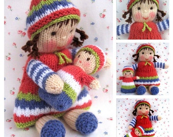 Lindy Lou and little doll - PDF knitting pattern - INSTANT DOWNLOAD