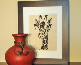 Giraffe Wall Picture - Art for Kids Room - Safari Wall Art - Kitchen Print or Living Room Print - Brown African Art Gift - African Gift