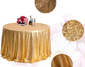 1pcs Gold Glitter Sequin Tablecloth for Wedding Engagement Anniversary Reception Ceremony Function Bouquet Christening Birthday Decorations