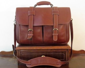 Korchmar Garfield Briefcase Laptop Carrier In Brown Leather With Brass Tone Hardware - VGC - Very Nice Bag!