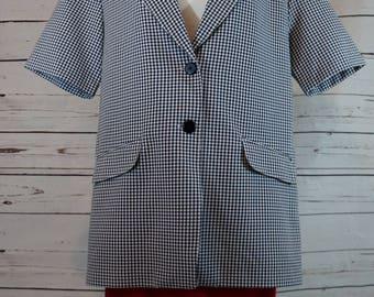 Navy and White Checkered Short Sleeve Blazer