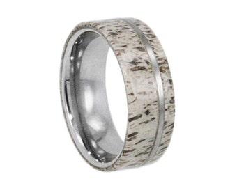 Antler Wedding Band, Tungsten Ring, Hunting Gifts For Men With Natural Deer Antler