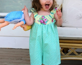 Sis Boom Jeanine Jumper - Girl's Romper PDF Sewing Pattern with Scientific Seamstress