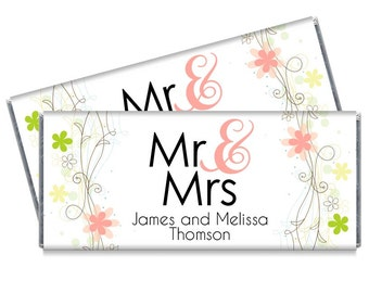Set of 12 - Mr and Mrs Peach Floral Wedding Candy Bar Wrappers - Peach Wedding Favors