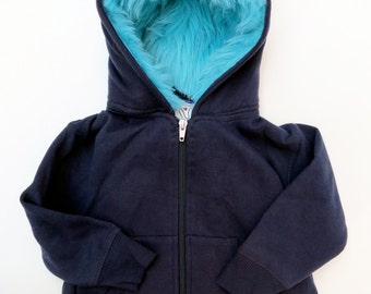 Toddler Monster Hoodie - Size 2T - Navy blue with aqua - horned sweatshirt, custom jacket