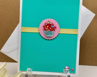 Cupcake Note Card, Birthday Card, Greeting Card, Cupcake Lovers Card, Blank Note Card