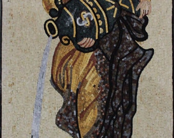 """TALL Lady Pouring Water 27""""X49"""" Arch Home Design Marble Mosaic FG1061"""