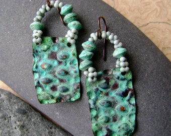 verdigris shield earrings, greenish blue, textured metal, gator texture, verdigris patina, bohemian, ooak ancient design, AnvilArtifacts