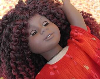 Hand sewn OOAK AA American girl doll wig