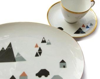 porcelain stickers little town