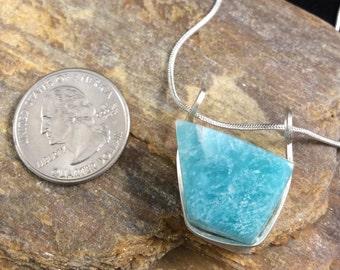 Amazonite Pendant, Sterling Silver Pendant, Aqua and White Pendant, Two-sided Pendant, Boho Gemstone Pendant, Unisex Pendant, Amazonite
