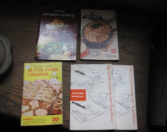 VINTAGE COOKING (6) PAMPHLETS 2 Cutco Carvings Booklets Pillsbury Butter Cookie Cookbook 100 Grand National Recipes Kellogg's Cookery
