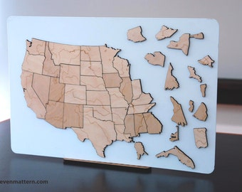 USA Rivers & Lakes Map Puzzle - Birch Plywood