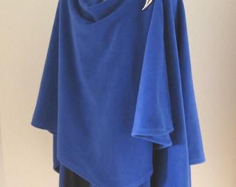 Royal Blue Fleece Cape - Large Shawl Poncho - Baby Wearing Wrap, Babywearing, Maternity Coat, Plus Size, One Size Fits Most