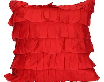 Tomato Red Ruffles Pillow Cover Ruffle Euro Sham Covers Solid Red Textured Pillow 14x14 16x16 18x18 20x20 22x22 24x24 26x26