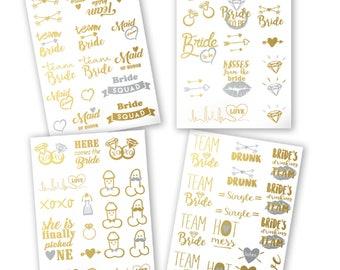 Bachelorette Party Tattoos - Gold Metallic Flash Temporary Tattoos, Set of 66. Bachelorette Party Favors
