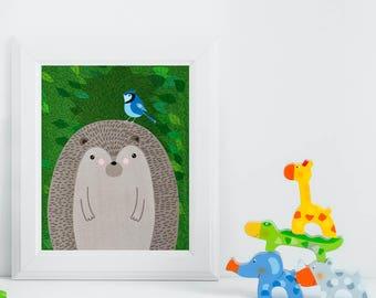 Hedgehog, Blue Jay, Woodland Animals, Woodland Critters, Nursery, Animal Wall Art, Kids Room, Animals, Print