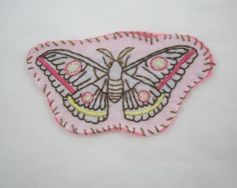 Pink Moth Embroidered Patch