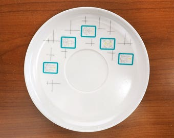 Vintage 50s Melmac Dishes Meldale Melamine White and Turquoise Saucer Plates