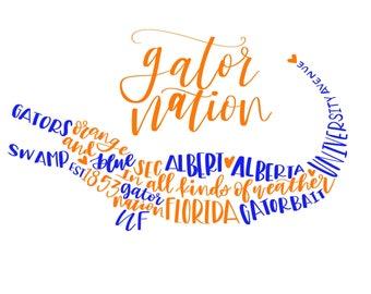 Uf // Gator Calligraphy Print