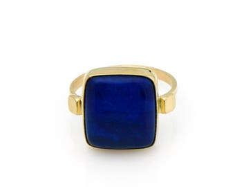 Square Lapis Ring in 14K Yellow Gold Bold Blue Lapis Lazuli Ring with Square Dots Fine Handmade Jewelry