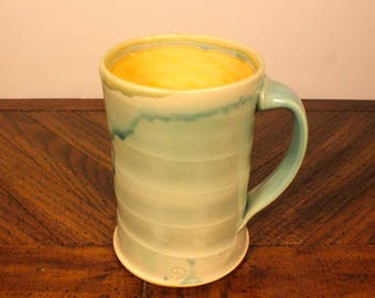 Light Green & Yellow Ceramic Mug, wheel thrown