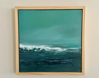 Aqua Teal Water Painting - Seascape- Original Painting- 12 x 12- Framed Natural Wood Floater Frame- Stretched Canvas