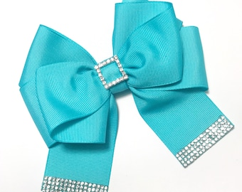 Charm aqua blue hair bow/ alligator clip/Girls Headband /nylon headband/ Rhinestone / Toddler Headband/ girly