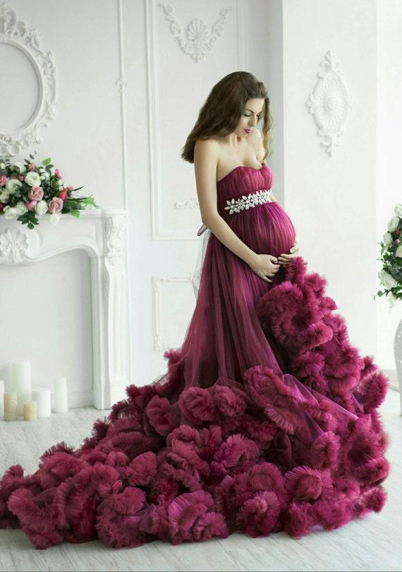 Mutterschaft gekräuselten Tüll Kleid Fotoshooting Mutterschaft