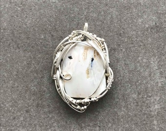 Hand Wrapped / White Buffalo Turquoise / Pendant / Silver Wire