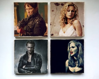 True Blood Stone Coasters - Set of 4, 6, or 8 -Sookie Stackhouse Eric Northman Bill Compton Sam Merlotte Pam Lafayette Jessica Hamby Alcide