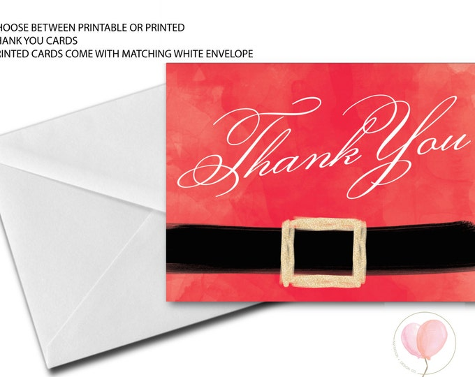 Santa Thank You Card // Santa Clause Suit  // Holiday Thank You Card // Santa Belt // Red and White // Gold Glitter // NORTH POLE COLLECTION