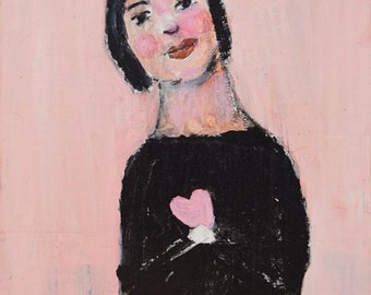 Acrylic Portrait Painting. Mixed Media Art. Small Painting. Valentine's Day Heart Art. Romantic Gift for Her