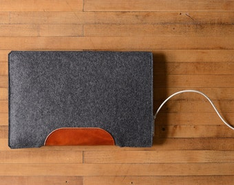"""MacBook Air / MacBook Laptop Sleeve - Charcoal Felt and Brown Leather Patch - Short Side Opening for 11"""" or  13"""" MacBook Air or 12"""" MacBook"""