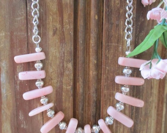 Pink necklace, Chunky necklace, Spike necklace, Spring jewelry, Summer jewelry, Unique necklace, Handmade necklaces