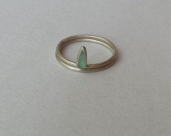 Chrysoprase stack ring set in sterling silver
