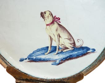 Georgian Enamel Patch Box Decorated With Forget Me Nots And Roses, A Flaming Heart, And A seated Pug, mops box