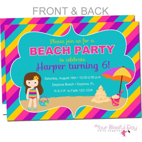 Beach Girl Party Invitations Girl Beach Party Invitation