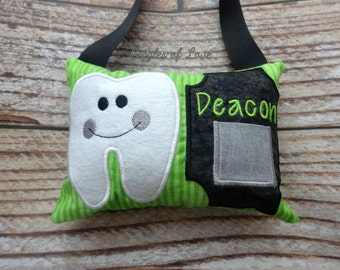 Personalized Tooth Fairy Pillow w/Front Pocket - Boy Tooth Pillow - Basic Tooth - Green and Black