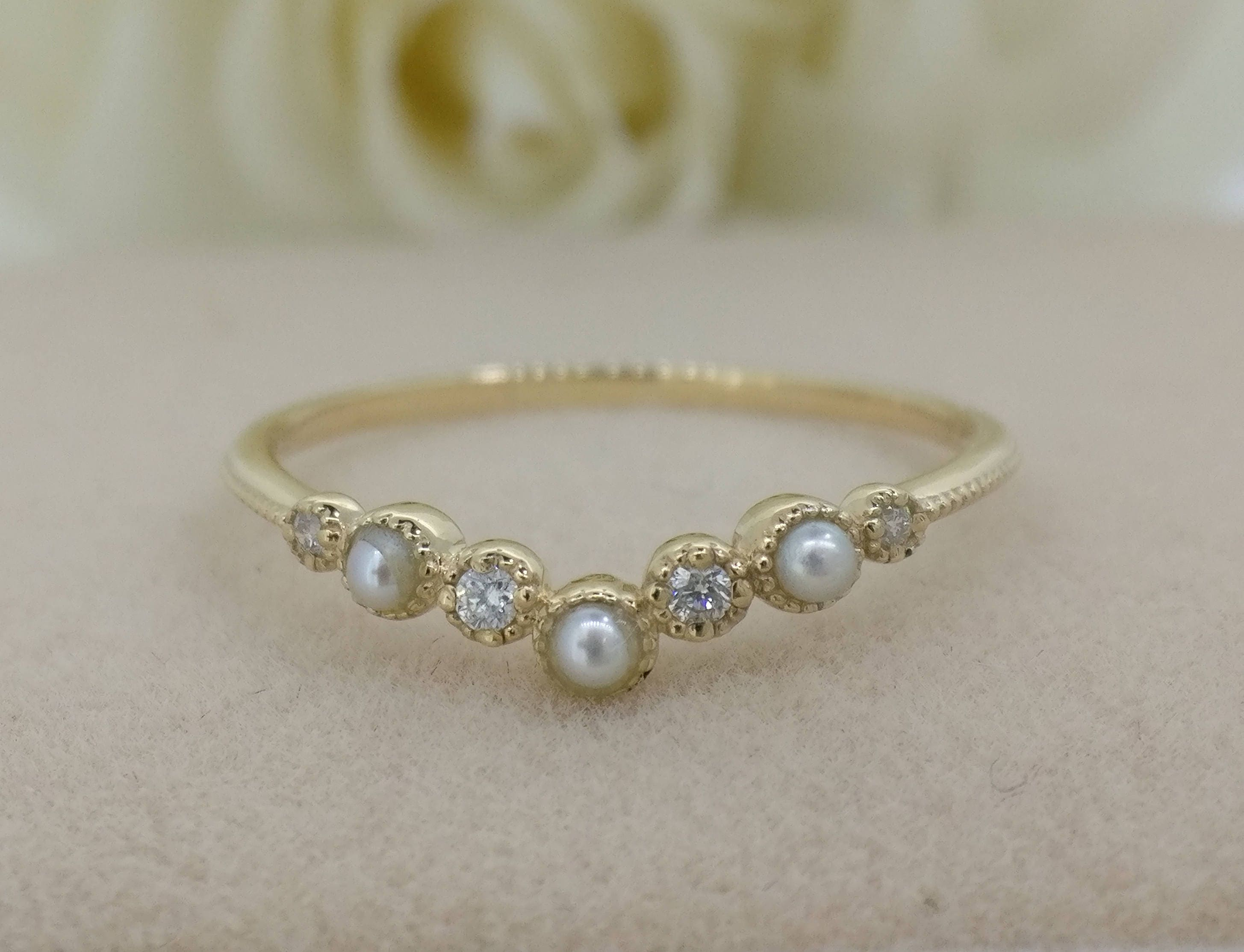 golden ring gold branded diamond yellow jewelry non and wedding womens rings pearl