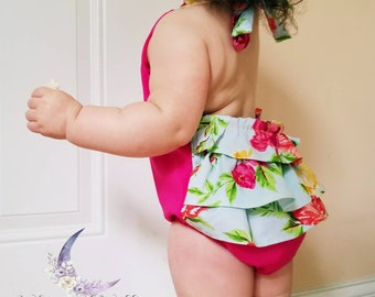 Hot Pink Floral Ruffle Halter Bubble Romper Baby Girls Childrens