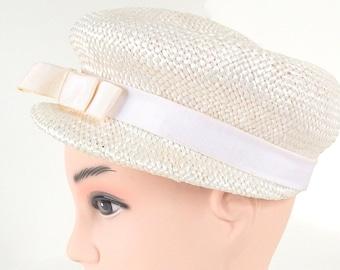 Vintage 1960's White Straw Newsboy Hat