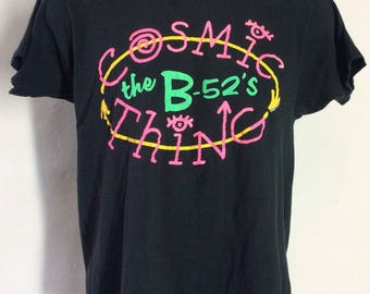 Vtg 1989 The B-52's Cosmic Thing Concert T-Shirt Black M/L 80s Alternative Indie College Rock Band
