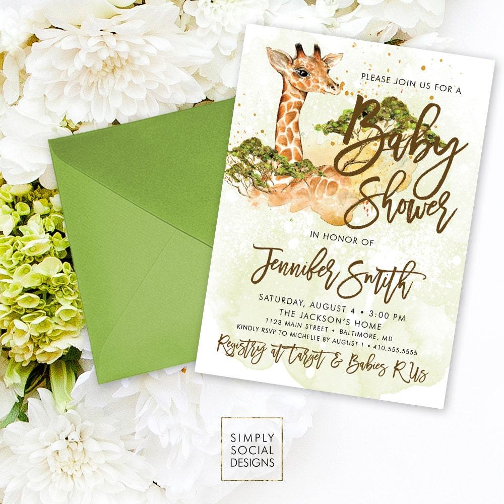 Giraffe Baby Shower Invitation   Boho Giraffe Gender Neutral Savannah Safari  Baby Shower Invitation Watercolor Printable
