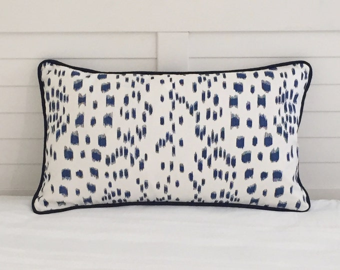 Brunschwig and Fils Les Touches Blue Animal Print Designer Pillow Cover with Navy Piping - Square, Lumbar and Euro Sizes