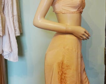 Vintage 1920s Lingerie Set French Knickers Tap Pants Panties Shorts Camiknickers Bra Brassiere Peach Silk Antique Lace Wedding Trousseau